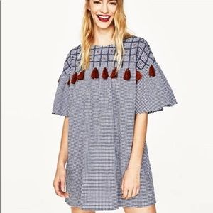 NWT Zara Embroidered Pompom Checkered Mini Dress